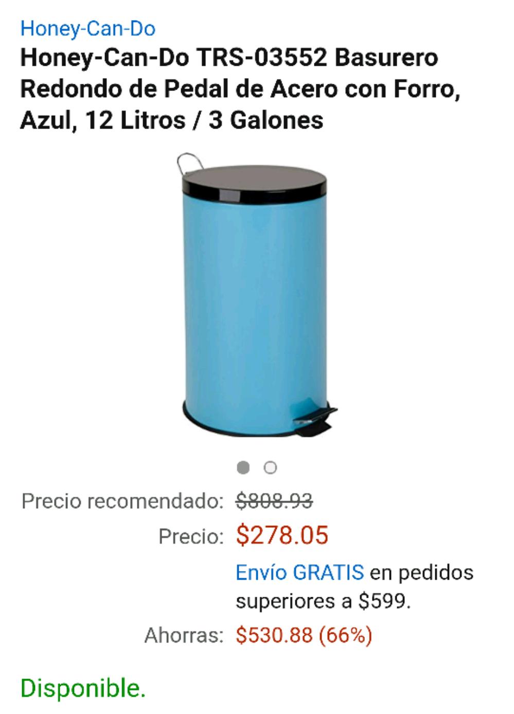 Amazon: Bote de basura de acero, 12 litros por $278