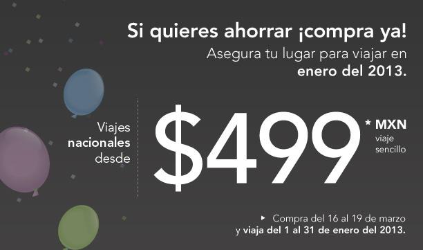 Volaris: vuelos nacionales desde $499 e internacionales desde $99 USD para enero 2013