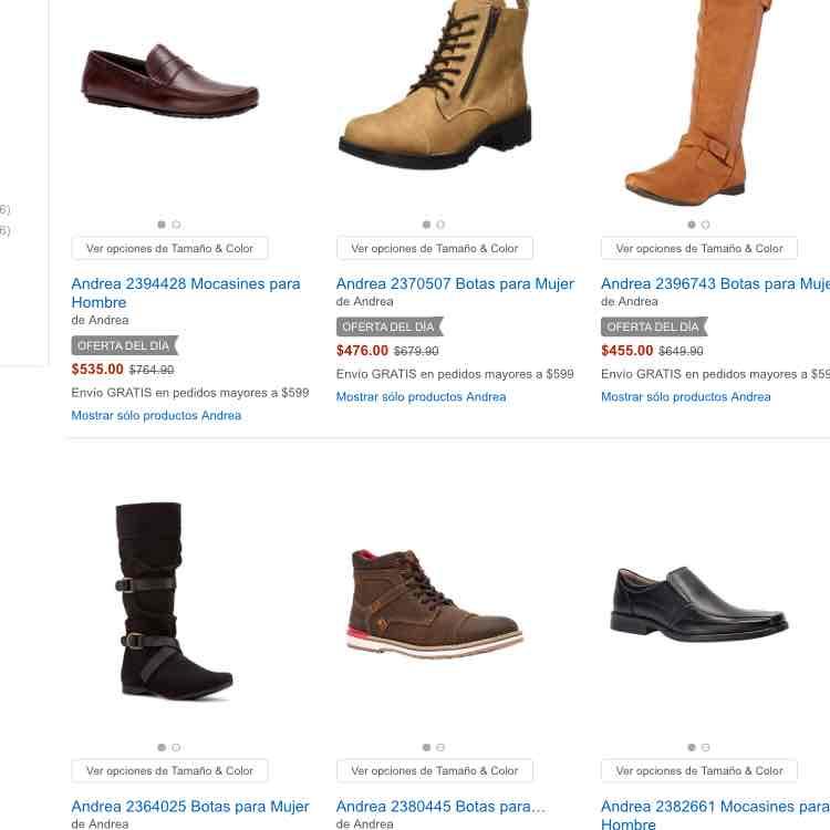 Amazon México: ofertas en zapatos Andrea