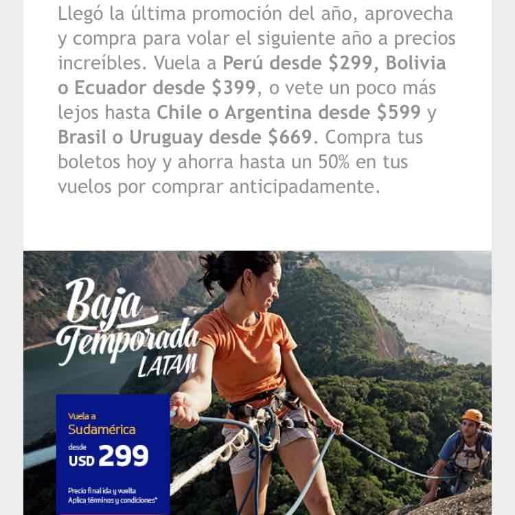 Latam Airlines: promociones vuelos sudamerica por Latam por baja temporada