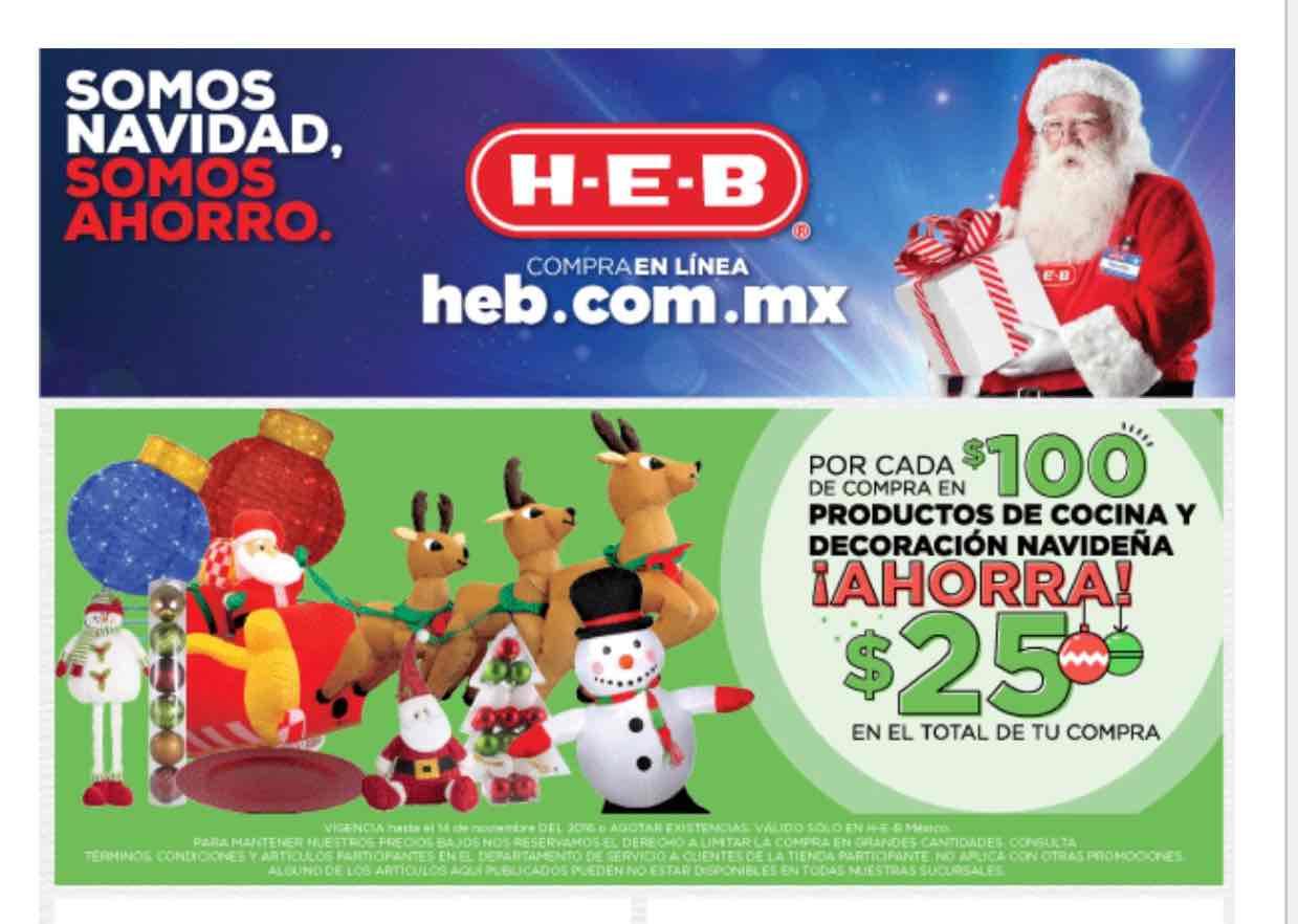 HEB: por cada $100 pesos ahorra $25 en productos de cocina y decoración navideña