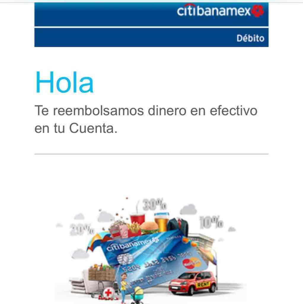 Banamex: compras hechas con tarjeta de débito regresa cierto porcentaje de la compra (en negocios participantes)