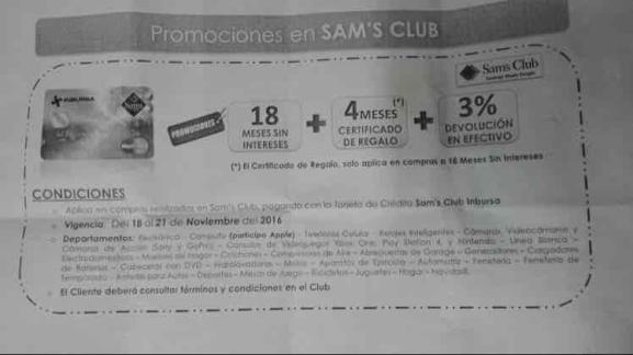 Buen Fin 2016 Sam's Club: 18 MSI + 4 meses en certificado de regalo + 3% de regreso en efectivo pagando con tarjeta Inbursa
