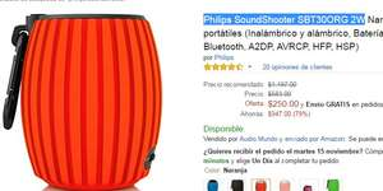 Amazon: Bocina Bluetooth Philips SoundShooter SBT30ORG 2W