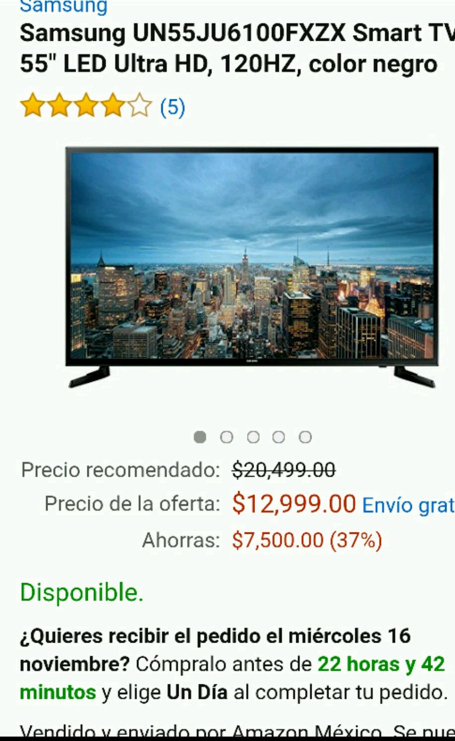 "Amazon: Samsung UN55JU6100FXZX Smart TV 55"" LED Ultra HD, 120HZ,"