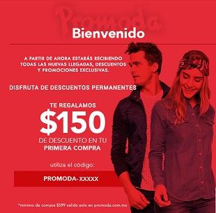 Promoda Outlet en línea: Cupón de $150 (nuevos usuarios)