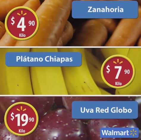 Walmart: Martes de Frescura 15 Noviembre: Zanahoria $4.90 kg; Plátano $7.90 kg; Uva Red Globo $19.90 kg.