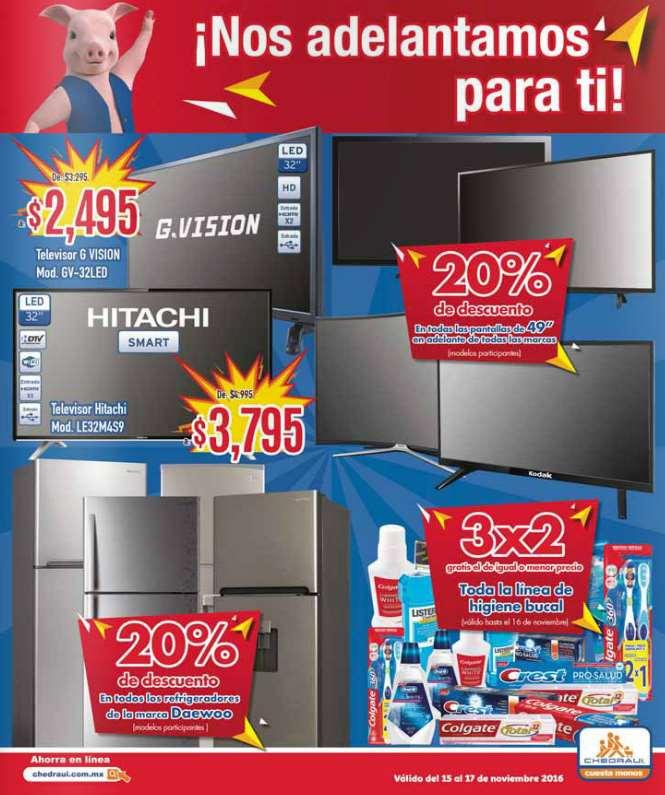 Pre Buen Fin 2016 en Chedraui: descuentos en televisiones, regfrigeradores e higiene bucal