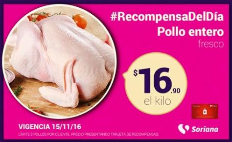 Soriana Híper y Súper: Recompensa Martes 15 de Noviembre: Pollo Entero Fresco $16.90 kg.
