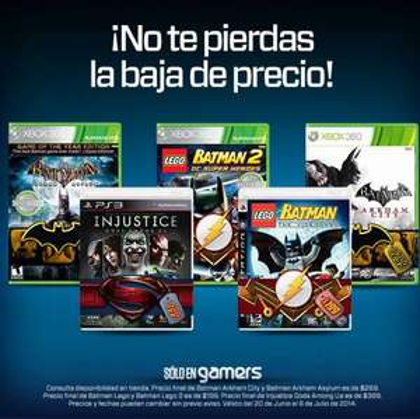 Gamers: LEGO Batman 2 $199, Injustice $399, Arkham City $299 y más