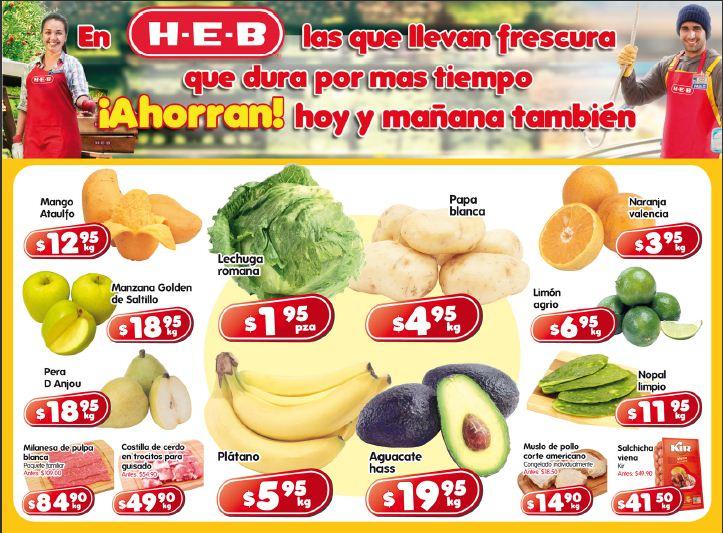 Frutas y verduras HEB: lechuga $1.95 pza, plátano $5.95 Kg y más