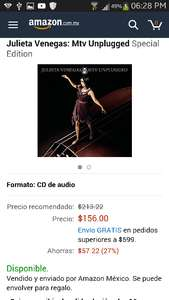 Amazon MX: Julieta Venegas MTV Unplugged: CD y DVD (+ DELL de seguro no cumplirá otra vez)