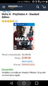 Amazon México: MAFIA III para PS4 y xbox One $749