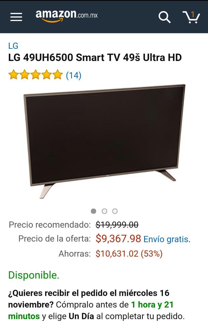 "Amazon: LG 49UH6500 Smart TV 49"" Ultra HD"