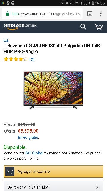 "Amazon: Pantalla LG 49UH6030  49"" Smart TV 4K HDR pro 120 hz $8,595"