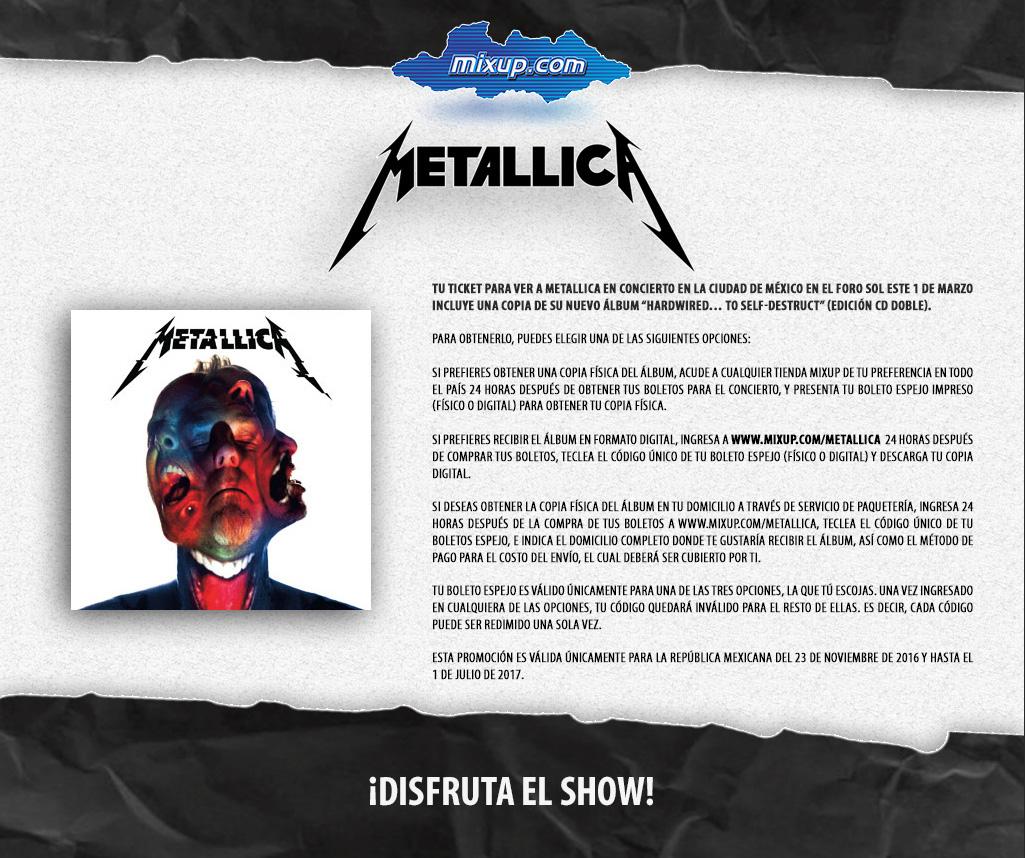 Nuevo disco de Metallica GRATIS en la compra de 1 boleto para el concierto del 1 de Marzo