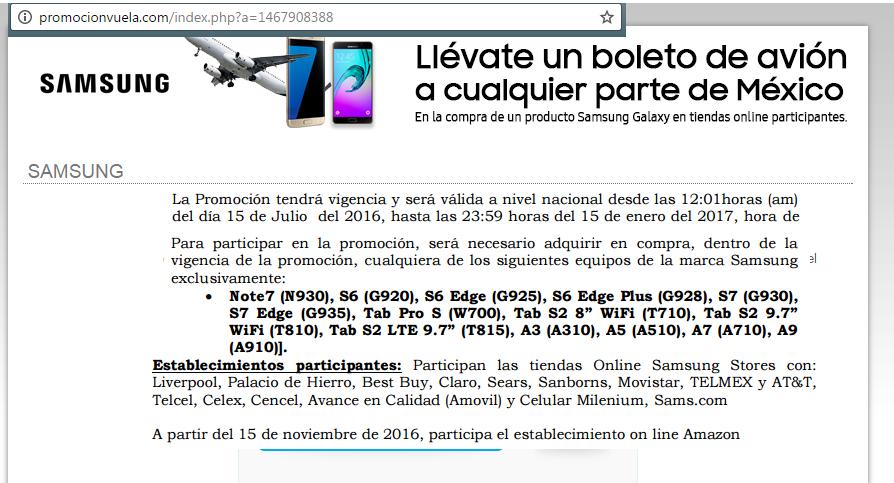 Samsung: Viaje de avion gratis al comprar celulares o tablet (ahora también en Amazon)