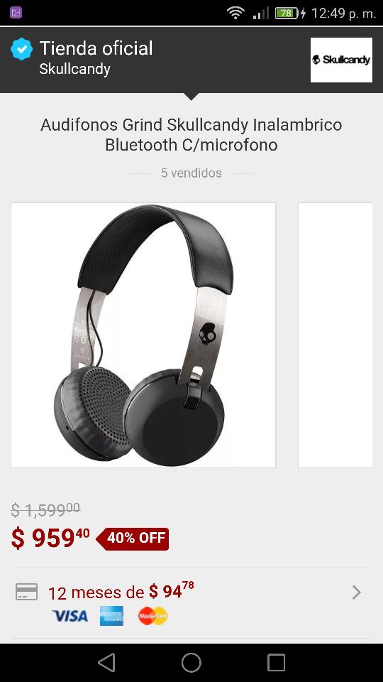 Tienda Skullcandy en Mercado Libre: Audífonos Skullcandy Grind Wireless