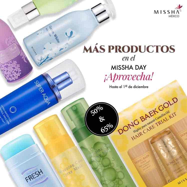 Missha México: 50% y 65% de descuento en artículos seleccionados.