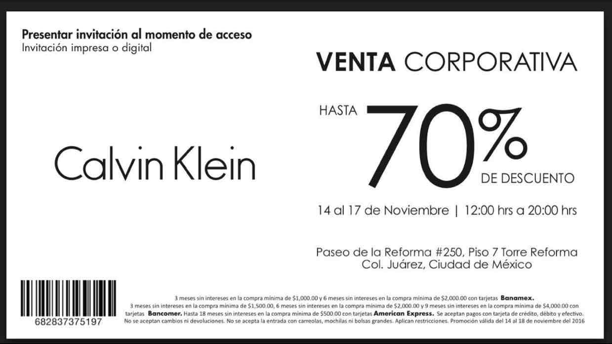 Calvin Klein venta corporativa: hasta 70% de descuento