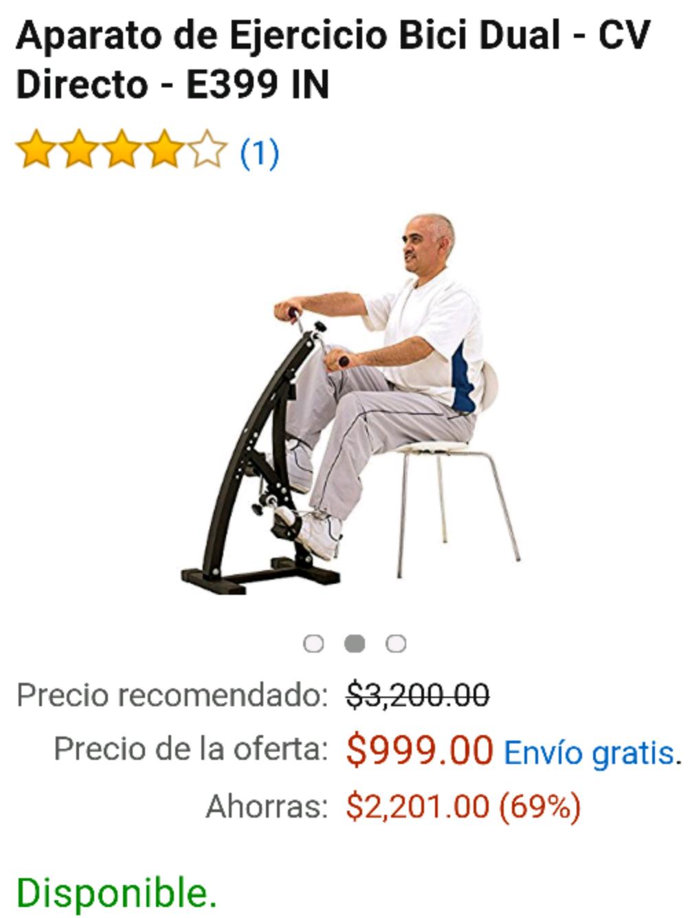Amazon: Aparato de Ejercicio Bici Dual - CV Directo - E399 IN