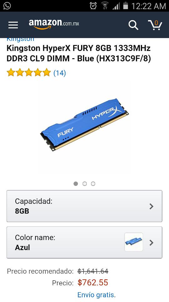Amazon: memoria RAM 8GB Hyperx Fury Kingston
