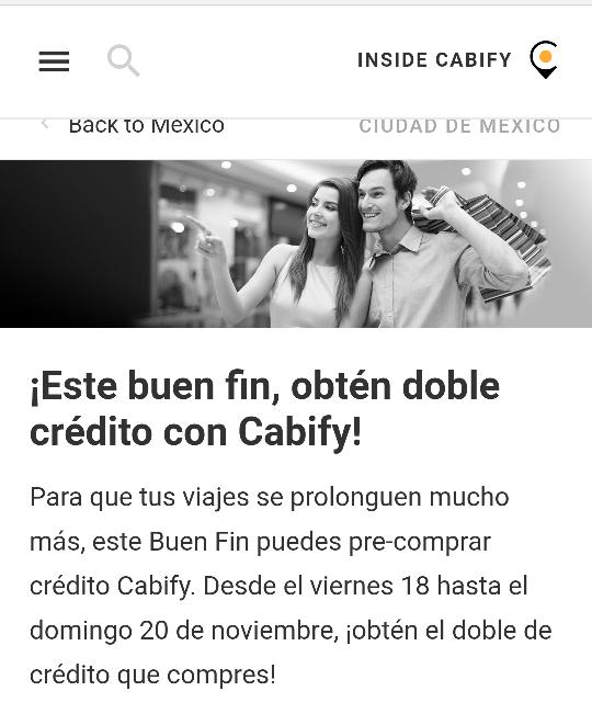 Buen Fin 2016 Cabify: agrega saldo a tu cuenta pagando la mitad. el monto inicial es de $75 y recibes $150