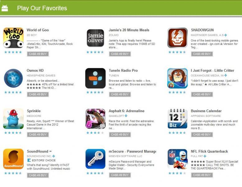Juegos y aplicaciones a 49 centavos de dólar en al Android Market
