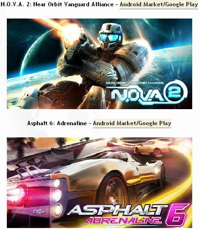 NOVA 2 y Asphalt 6 para Android a 49 centavos de dólar