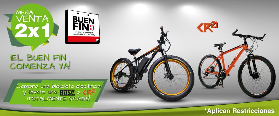 Ofertas Buen Fin Electrobike: 2 x 1, Compra una bicicleta electrica y te obsequian una bicicleta CR21 o BASE