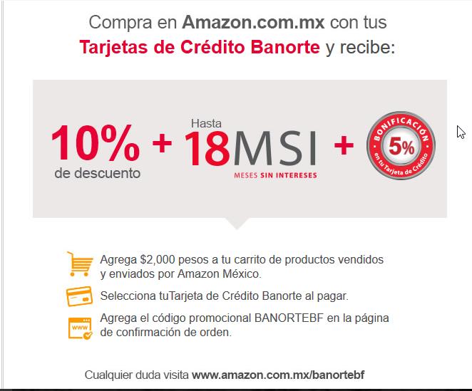 Buen Fin 2016 en Amazon con Banorte: 10% de descuento + 18 MSI + 5% de bonificación
