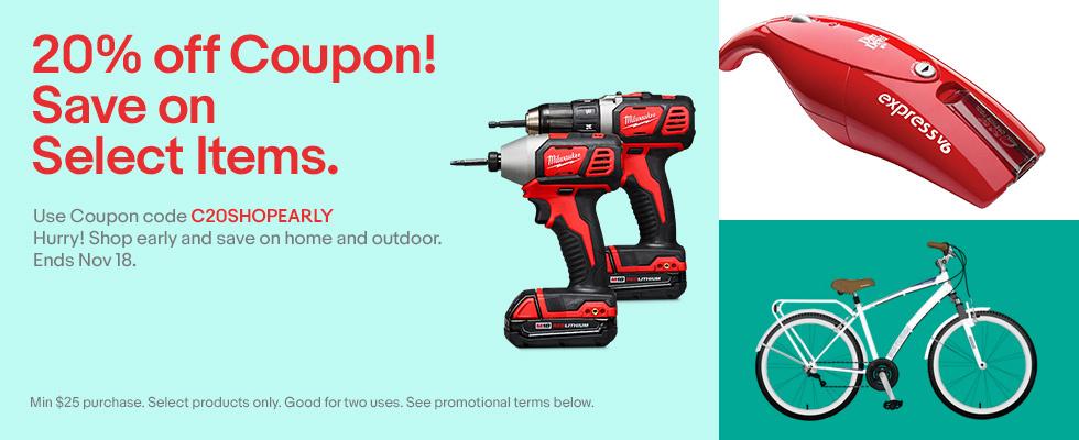 Ebay: Cupón de 20% de descuento en artículos de hogar