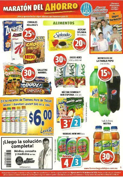 Folleto Farmacias Guadalajara a marzo 15: 2x1 en algunos desodorantes, 3x2 en líneas Mennen y Curity y más