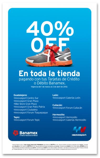 Innova Sport: 40% de descuento al pagar con Banamex