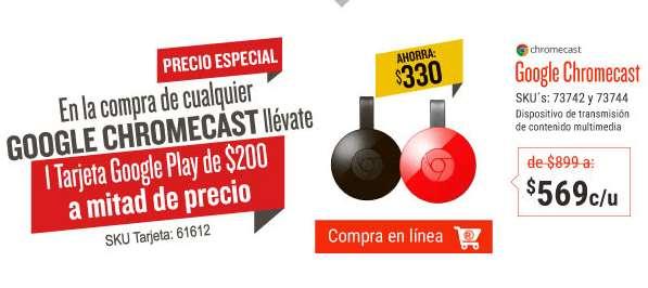 El Buen Fin 2016 en RadioShack: Chromecast 2 $569 + descuento para Google Play