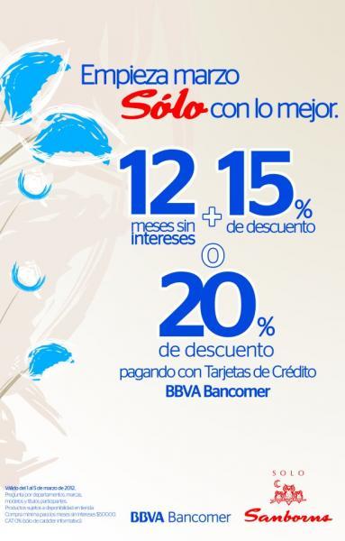 Sanborns: 12 MSI + 15% de descuento o 20% de descuento con Bancomer