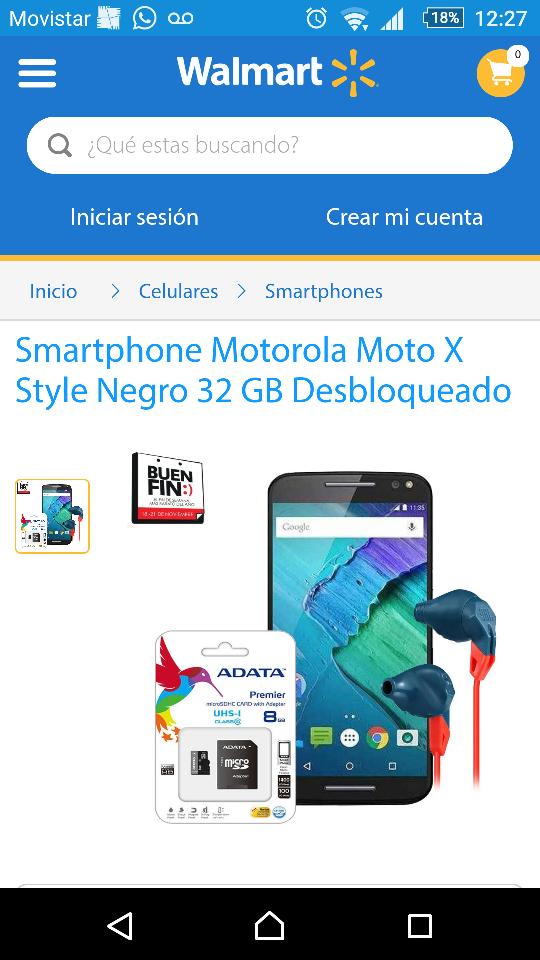 El Buen Fin 2016 en Walmart: Moto x Style Negro 32gb más audífonos JBL y memoria micro sd 8gb Adata