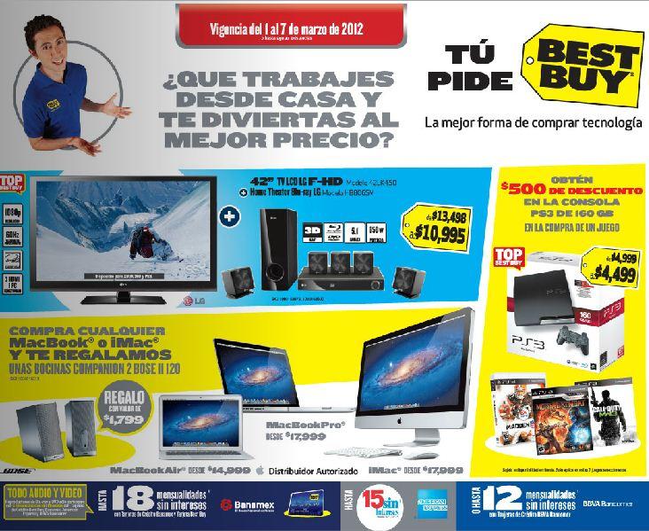 Folleto Best Buy marzo 1: bocinas Bose gratis en compra de Mac, descuento en PS3, cámaras Kodak y más