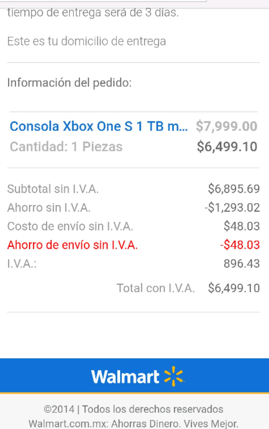 El Buen Fin 2016 en Walmart: Consola Xbox One S 1TB Fifa 2017