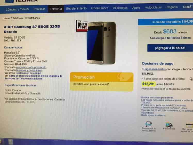 Buen Fin 2016 Tienda Telmex: Samsung Galaxy S7 edge