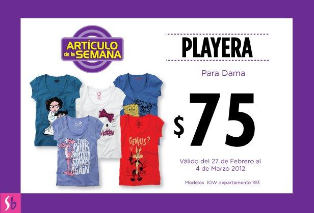 Artículo de la semana en Suburbia: playera para dama con estampado a $75