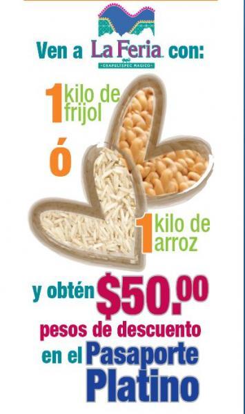 La Feria de Chapultepec: $50 de descuento al llevar 1 Kg de arroz o frijol