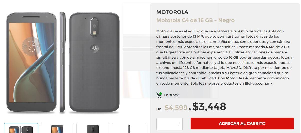 Buen Fin 2016 Elektra: Motorola G4 de 16 GB - Negro