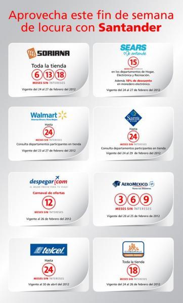 MSI en Telcel, Sears, Soriana, Walmart, AeroMéxico, Despegar.com y Chedraui pagando con Santander