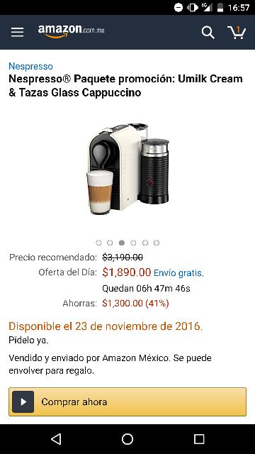 El Buen Fin 2016 Amazon: Máquina de café Nespresso® UMilk, Pure Black