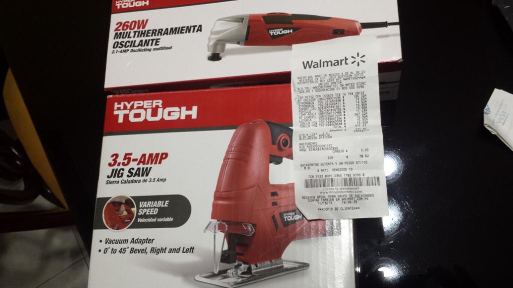 Walmart Santin Toluca: herramienta oscilante $267.02 y Caladora $185.02 marca hyper tough