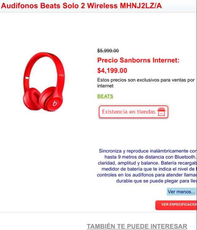 Sanborns: Beats 2 Solo Wireless
