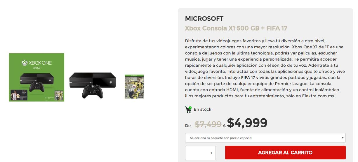 El Buen Fin en Elektra: Xbox One 500gb + FIFA 17  $4,444.00 CON BANAMEX :)