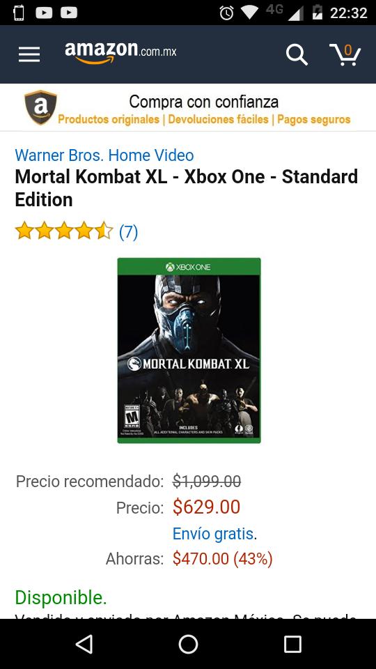 Buen Fin 2016 Amazon y Sanborns: Mortal Kombat XL - Xbox One