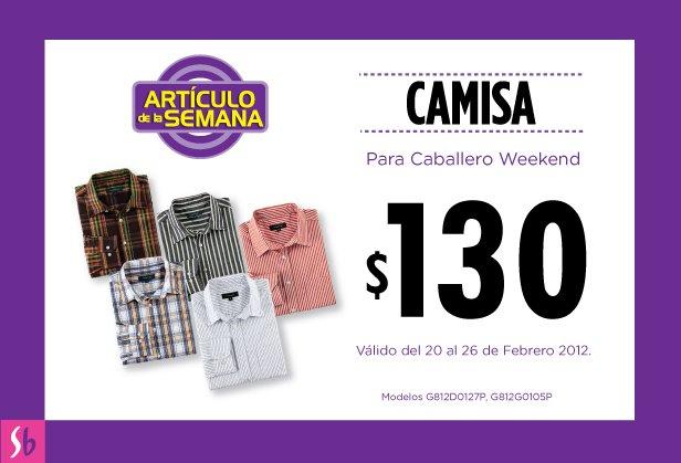 Artículo de la semana en Suburbia: camisa para caballero Weekend $130